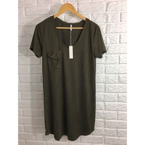 NWT 🌼 Z Supply SZ S faux suede olive green dress